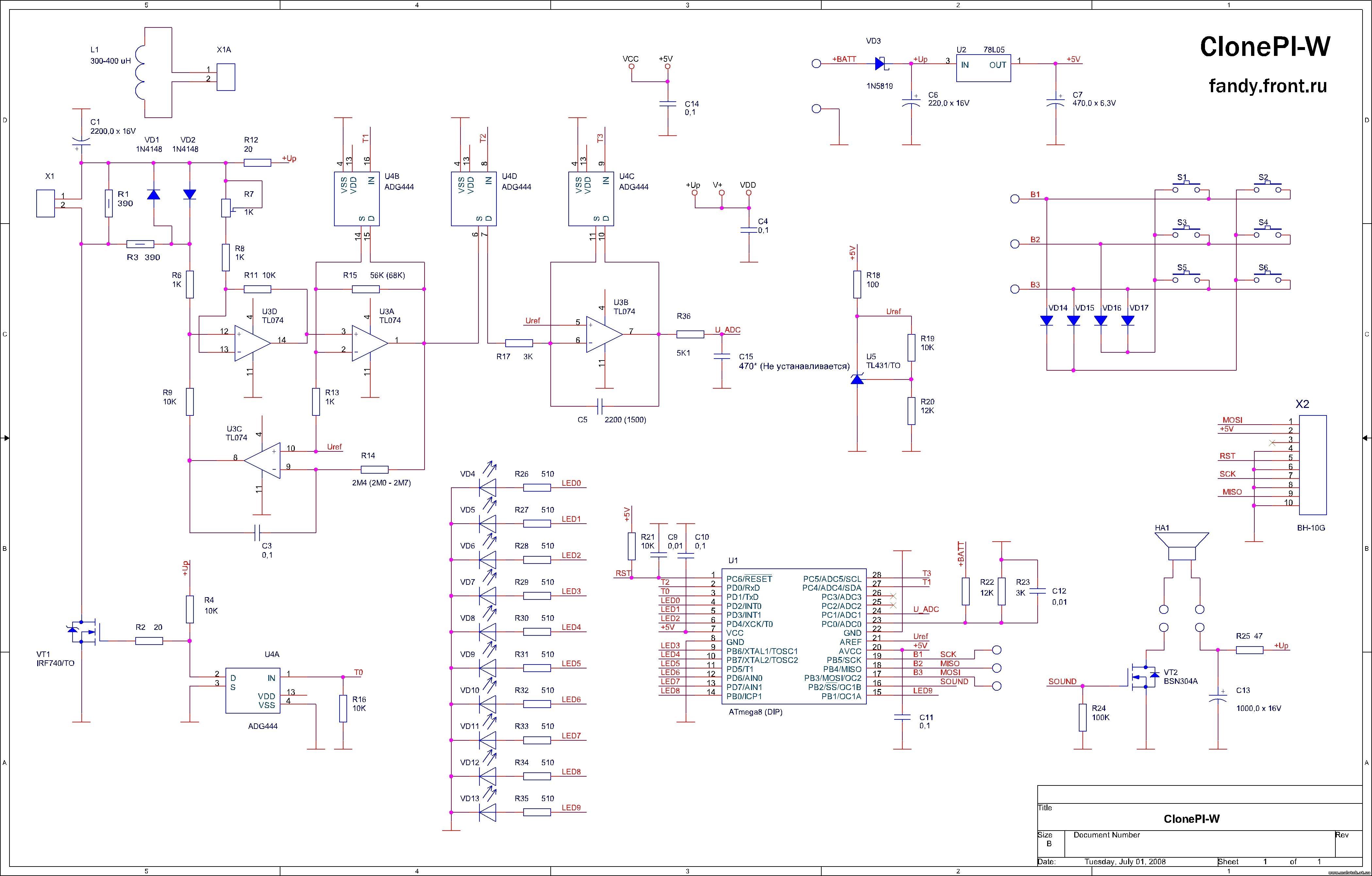 Схема металлодетектора Clone PI W